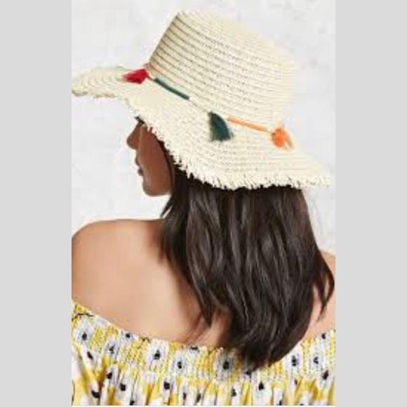 4076ade0 Forever 21 Accessories - Forever 21 Tasseled Floppy Straw Hat
